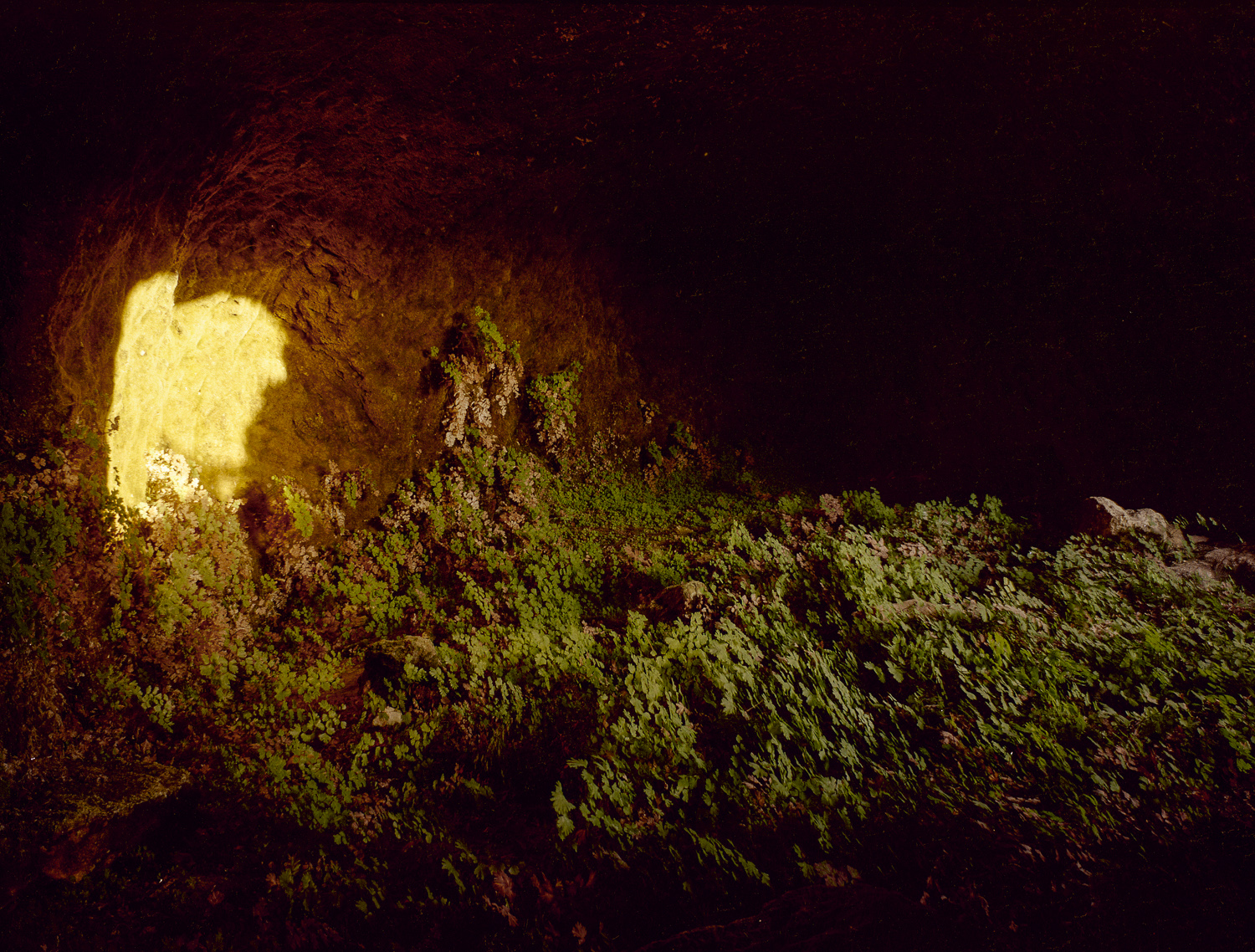 Light entering a cave at sunset in Gilo - Jerusalem, 1979