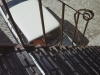 Iron stairs and car