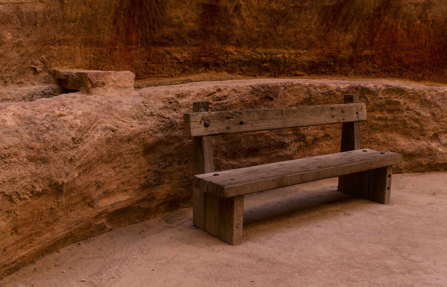 Bench in the Siq - Petra, 2011