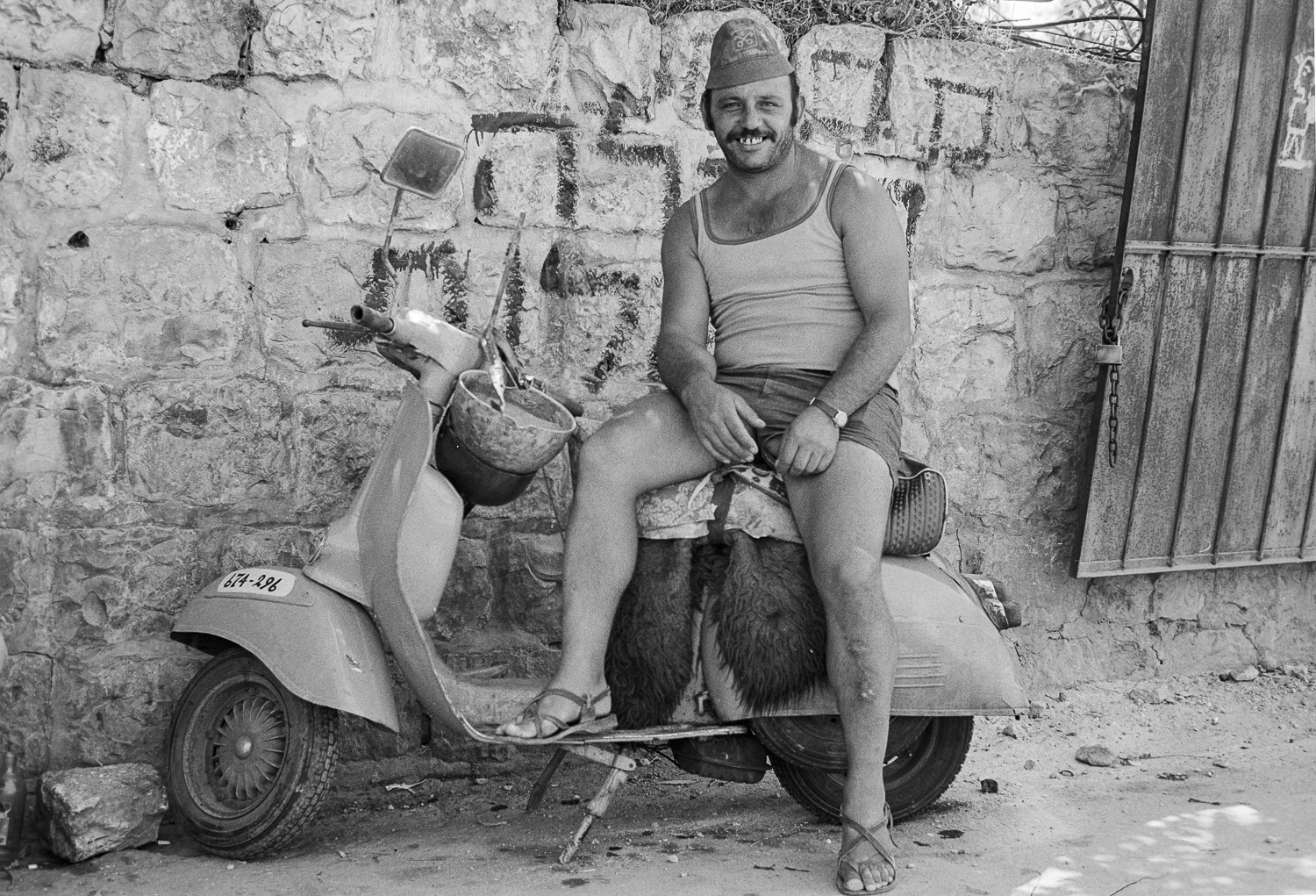 Man and scooter, Jerusalem - 1978