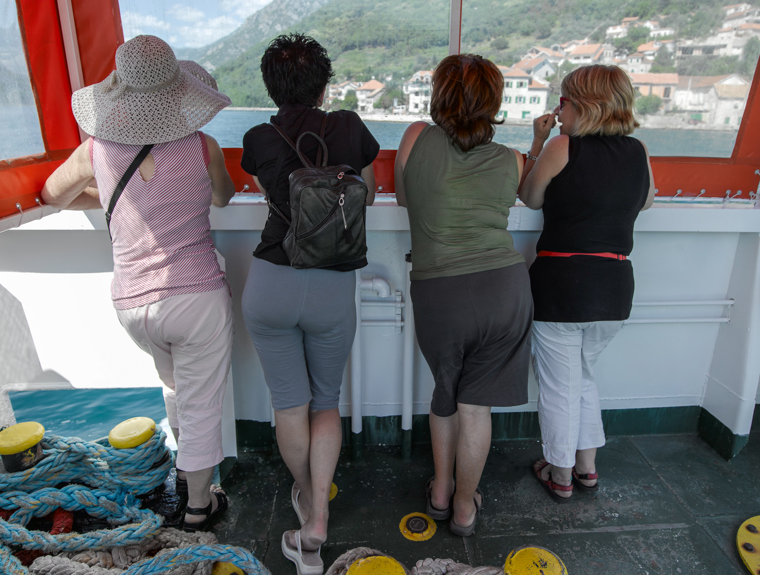 Four women on the Kotor ferry - 2009